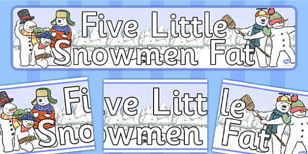 Five Little Snowmen Fat Display Banner - banners, displays, snow