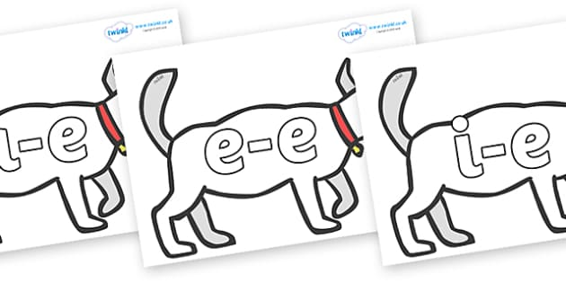 Modifying E Letters on White Dog to Support Teaching on Brown Bear, Brown Bear - Modifying E, letters, modify, Phase 5, Phase five, alternative spellings for phonemes, DfES letters and Sounds