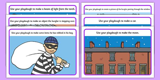 Burglar Playdough Mats - burglar bill, burglar, playdough mats