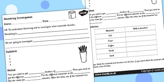 Dissolving Investigation Worksheet - dissolving, science