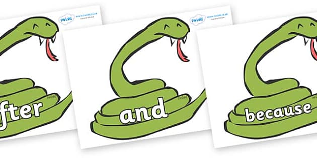 Connectives on Snakes - Connectives, VCOP, connective resources, connectives display words, connective displays