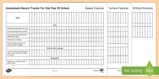 New Zealand 2nd Year of School Writing Assessment Tracker - Assessment, Literacy, Writing, 2nd Year of School, assessment tracker, tracker