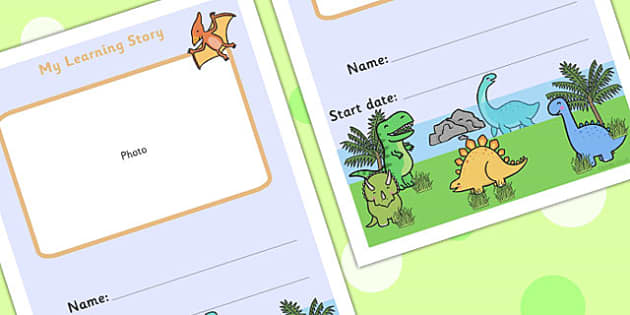 EYFS My Learning Story Front Cover Dinosaur Themed - dinosaurs