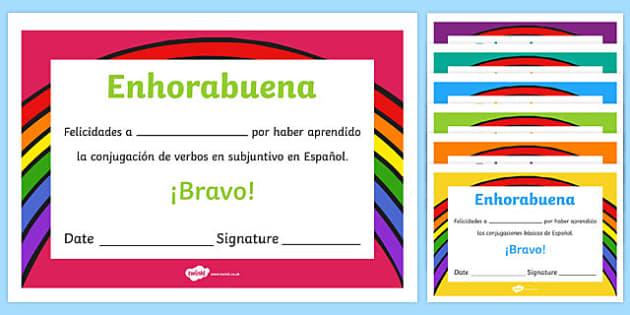 Spanish End of Year Conjugation Award Certificate, conjugation, ks1, ks2, ks3, ks4, literacy, vocabulary, certificate, celebration
