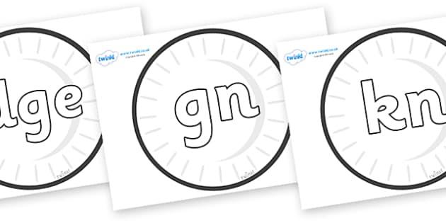 Silent Letters on Circles (Plain) - Silent Letters, silent letter, letter blend, consonant, consonants, digraph, trigraph, A-Z letters, literacy, alphabet, letters, alternative sounds