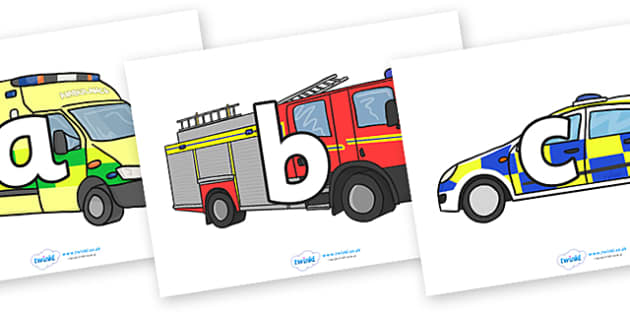 A-Z Alphabet on Emergency Vehicles - A-Z, A4, display, Alphabet frieze, Display letters, Letter posters, A-Z letters, Alphabet flashcards