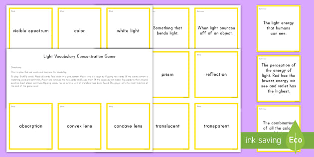 Light Vocabulary Concentration Game - Science Concentration Games, Body Systems, Earth and Sun, Ecology, Weather and Climate, Heat Energy,