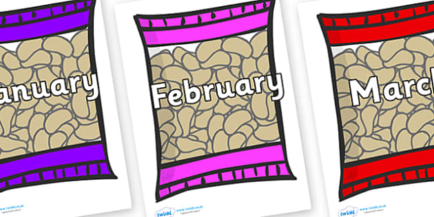 Months of the Year on Snack Packets - Months of the Year, Months poster, Months display, display, poster, frieze, Months, month, January, February, March, April, May, June, July, August, September