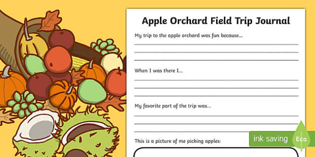 Apple Orchard Field Trip Journal Writing Activity Sheet