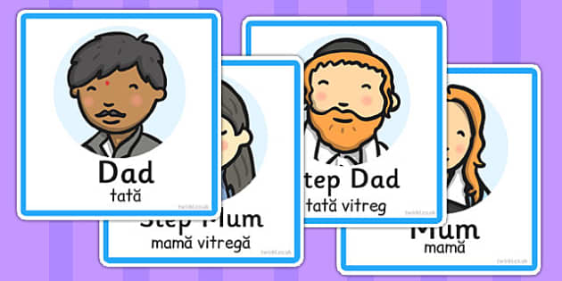 Family Members Role Play Badges Romanian Translation - romanian