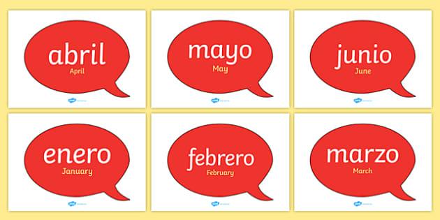 Globos de diálogo - Meses del año en inglés - inglés, año, calendario, decoración, enero, febrero, marzo, abril, mayo, junio, julio, agosto, septiembre, setiembre, octubre, noviembre, diciembre