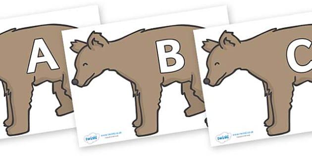 A-Z Alphabet on Bears - A-Z, A4, display, Alphabet frieze, Display letters, Letter posters, A-Z letters, Alphabet flashcards