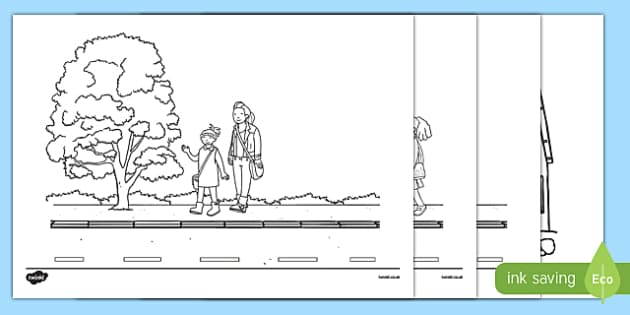 Walk to School Month Colouring Pages