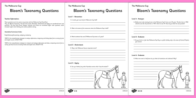 The Melbourne Cup Bloom's Taxonomy - australia, melbourne cup, bloom's taxonomy
