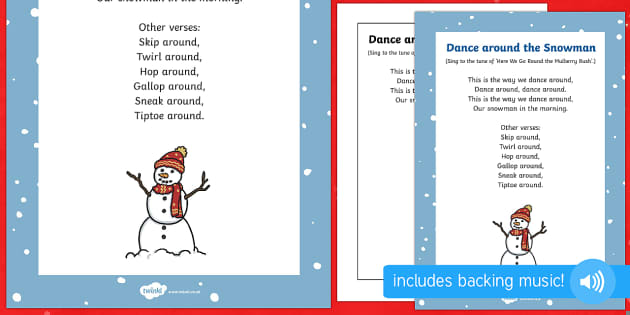 Dance Around the Snowman Rhyme to Support Teaching on The Snowman - dance around the snowman, rhyme, christmas, eyfs