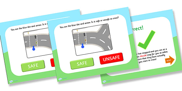 Crossing the Road Safe and Unsafe PowerPoint - road safety, safety, crossing the road, safe, unsafe, powerpoint, safety powerpoint, information powerpoint