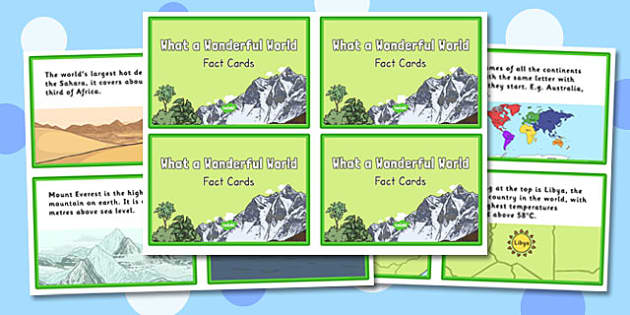 What a Wonderful World Fact Cards - wonderful world, fact cards