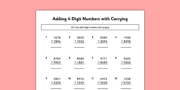 Adding 4 Digit Numbers Carrying - adding, 4 digit, numbers