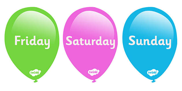 Days of the Week on Balloons - Weeks poster, Months display, display, poster, frieze, Days of the week