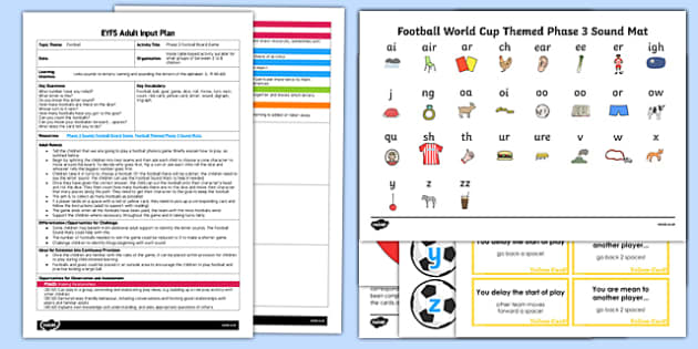 EYFS Phase 3 Football Board Game Adult Input Plan and Resource Pack - lesson plan