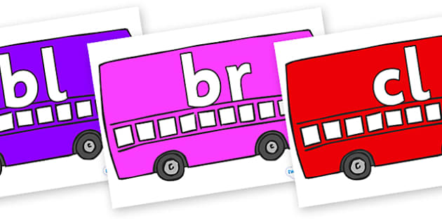 Initial Letter Blends on Buses - Initial Letters, initial letter, letter blend, letter blends, consonant, consonants, digraph, trigraph, literacy, alphabet, letters, foundation stage literacy