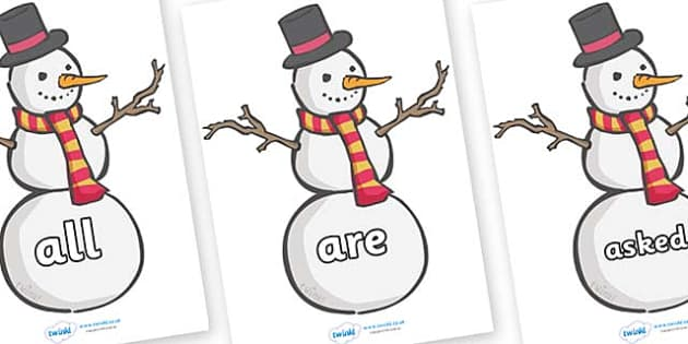 Tricky Words on Snowmen - Tricky words, DfES Letters and Sounds, Letters and sounds, display, words
