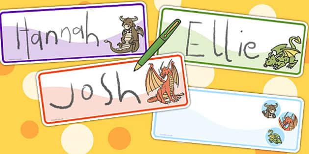 Dragon Themed Drawer Peg Name Labels - labels, name, peg, dragon