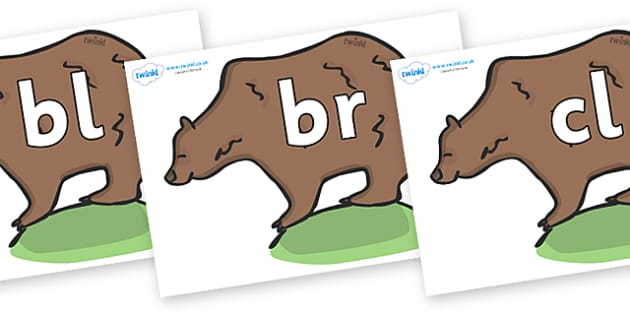 Initial Letter Blends on Bears - Initial Letters, initial letter, letter blend, letter blends, consonant, consonants, digraph, trigraph, literacy, alphabet, letters, foundation stage literacy