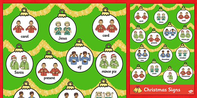 A4 British Sign Language Christmas Word Mat - christmas, mat, sign