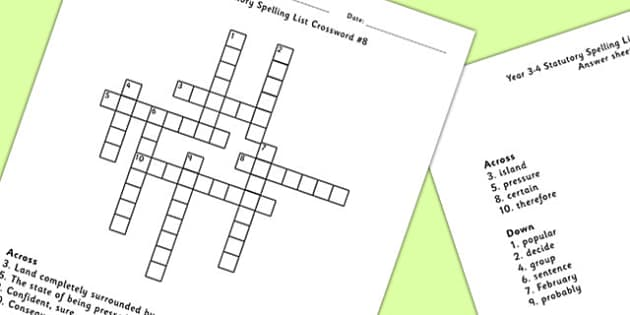Year 3-4 Statutory Spelling List Crossword 8 - crossword, spell