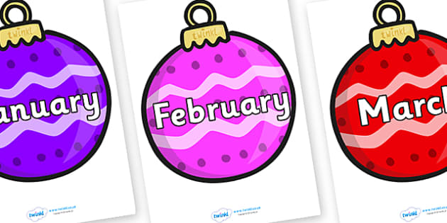 Months of the Year on Baubles (Patterned) - Months of the Year, Months poster, Months display, display, poster, frieze, Months, month, January, February, March, April, May, June, July, August, September