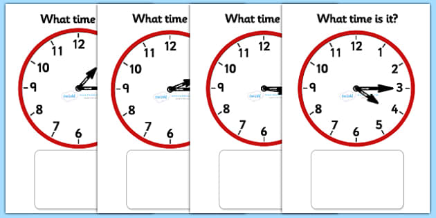 Clock Matching Game - O' Clock - education, home school, child development, children activities, free, kids, math games, worksheets, number work