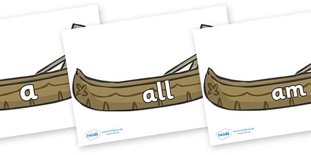 Foundation Stage 2 Keywords on Canoes - FS2, CLL, keywords, Communication language and literacy,  Display, Key words, high frequency words, foundation stage literacy, DfES Letters and Sounds, Letters and Sounds, spelling