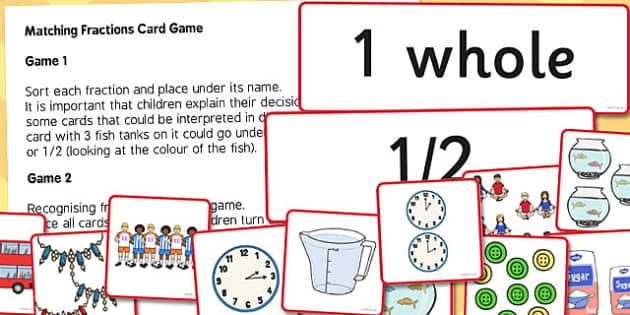 Matching Fractions Card Game - matching, fractions, card, game