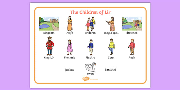 The Children of Lir Word Mat - Irish history, Irish story, Irish myth, Irish legends, The Children Of Lir, vocabulary mat, vocabulary, words