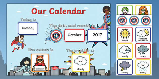 Superhero Display Calendar - fantasy, daily routine, dates, months, time