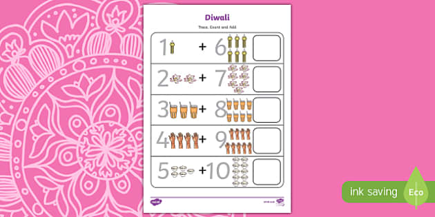 Diwali Trace, Count and Add Activity Sheet, worksheet