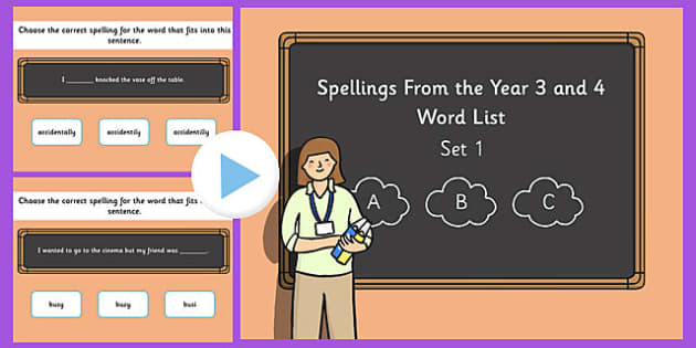 Spelling from the Year 3 and 4 Word List PowerPoint Quiz Set 1