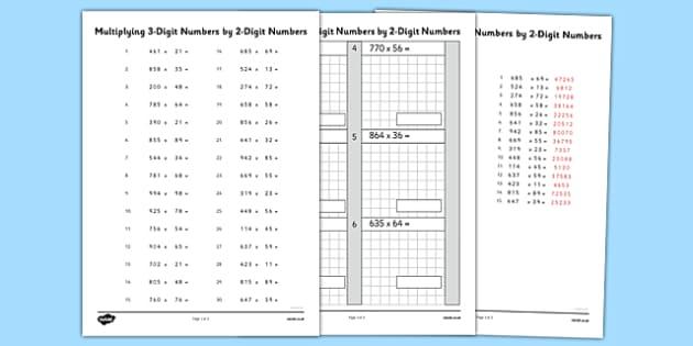 Multiplying 3 Digit Numbers by 2 Digit Numbers Activity Sheet - multiplying, numbers, activity, sheet, maths, numeracy, 2 digit, worksheet