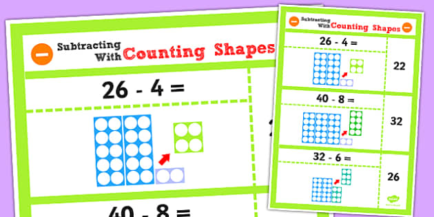 Year 2 Subtract 2 Digit Numbers and Ones Using Counting Shapes