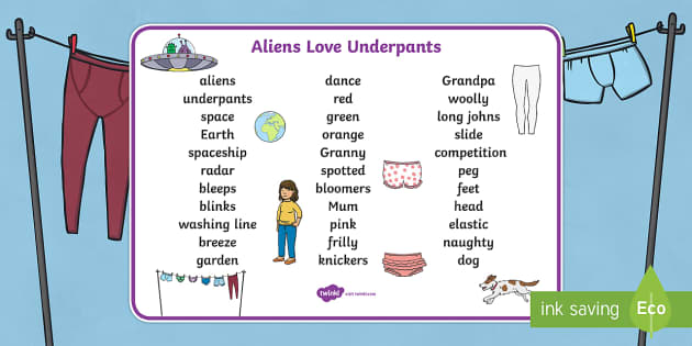 Word Mat Text to Support Teaching on Aliens Love Underpants - aliens love underpants, word mat, word mat text, text mat, themed word mat, key words, keywords, key word mat, mat