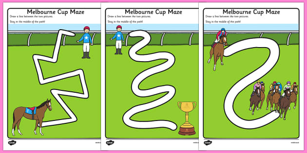 Melbourne Cup Pencil Control Path Worksheets - australia, melbourne cup, pencil control