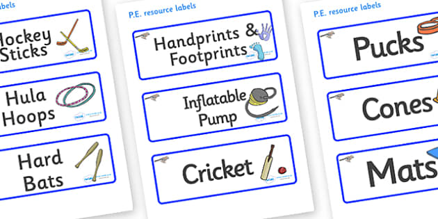 Jay Themed Editable PE Resource Labels - Themed PE label, PE equipment, PE, physical education, PE cupboard, PE, physical development, quoits, cones, bats, balls, Resource Label, Editable Labels, KS1 Labels, Foundation Labels, Foundation Stage Labels