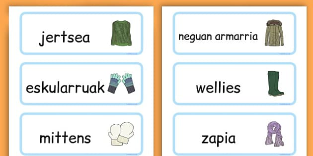 Winter Clothes Word Cards - winter clothes, word cards, winter, clothes - Basque