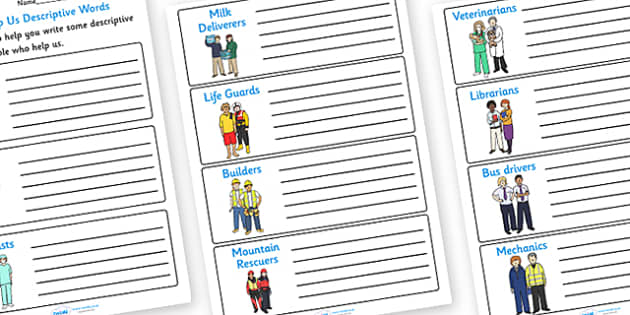 People Who Help Us Descriptive Words Worksheets - people who help us, people who help us worksheet, people who help us descriptive worksheet, descriptions