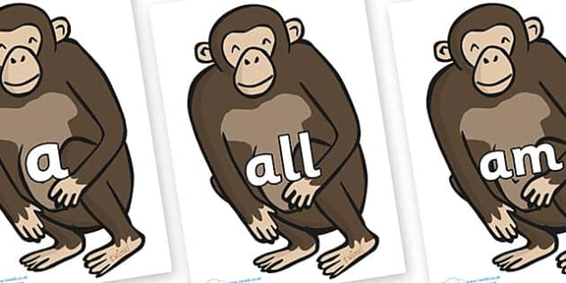 Foundation Stage 2 Keywords on Chimps - FS2, CLL, keywords, Communication language and literacy,  Display, Key words, high frequency words, foundation stage literacy, DfES Letters and Sounds, Letters and Sounds, spelling