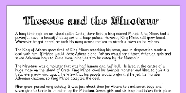Theseus and the Minotaur Story Print Out - stories, story display