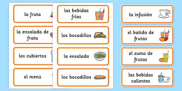 Healthy Eating Cafe Role Play Word Cards Spanish - spanish, healthy eating cafe, role play, word cards