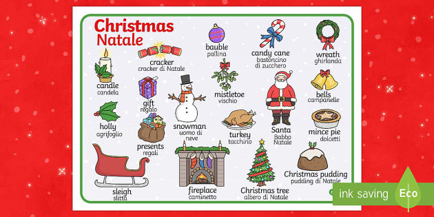 Christmas Word Mat Italian Translation - Christmas Word Mat - Christmas, xmas, word mat, writing aid, tree, advent, nativity, santa, father c
