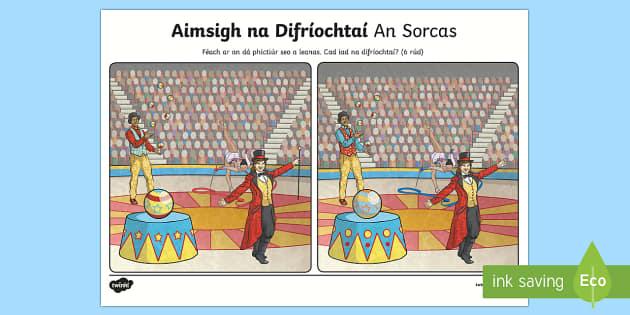 An Sorcas, Aimsigh na Difríochtaí Activity Sheet-Irish